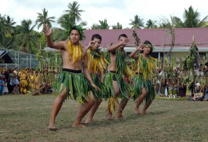 A group of Niuean high school students perform a traditional dance for dignitaries from 15 Pacific nations, including Australian Prime Minister Kevin Rudd. The officials are in Niue for the Pacific Islands Forum leaders' meeting and the children danced as part of the official opening of the event. Pic: Xavier La Canna Date: August 19, 2008
