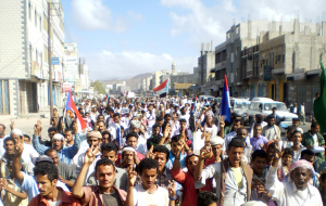 Protesters march during an anti-government demonstration in Radfan district of the southern Yemeni province of Lahej